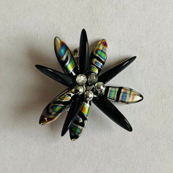 Madeleine Pin in Black and Metallic Silver