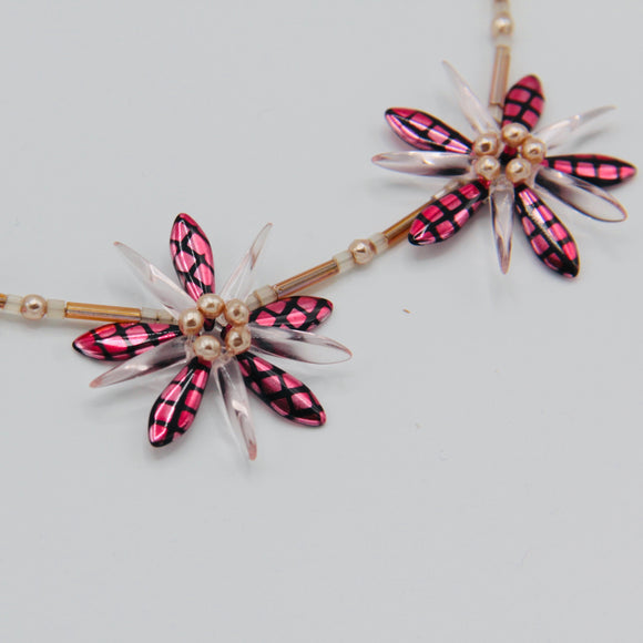 Anna Beaded Necklace with Pink Metallic Crosshatch with Pearls