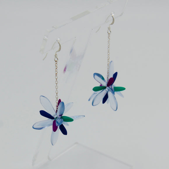 Laura Earrings in Light Blue with Neon Multicolor
