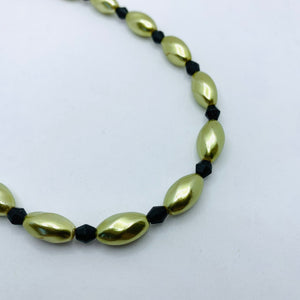 Nora Necklace in Large Pearly Green and Black