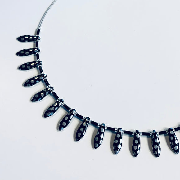 Rebecca Necklace in Metallic Black and Silver Polka Dot