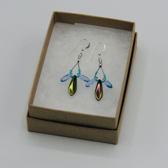 Janet Maxi Earrings in Shiny Multicolor and Blue with Turquoise