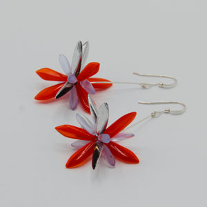 Emma Earrings in Orange, Silver and Navy Blue