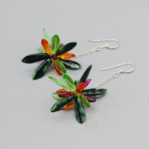 Laura Earrings in Mix Green, Orange and Magenta