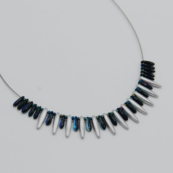 Rebecca Necklace in Silver and Black with Multicolor Shine