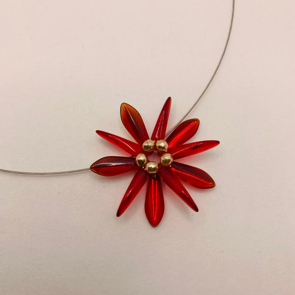 Elizabeth Necklace in Red with Pearl Center