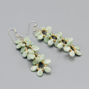 Charlotte Earrings in Light Green with Stone Finish