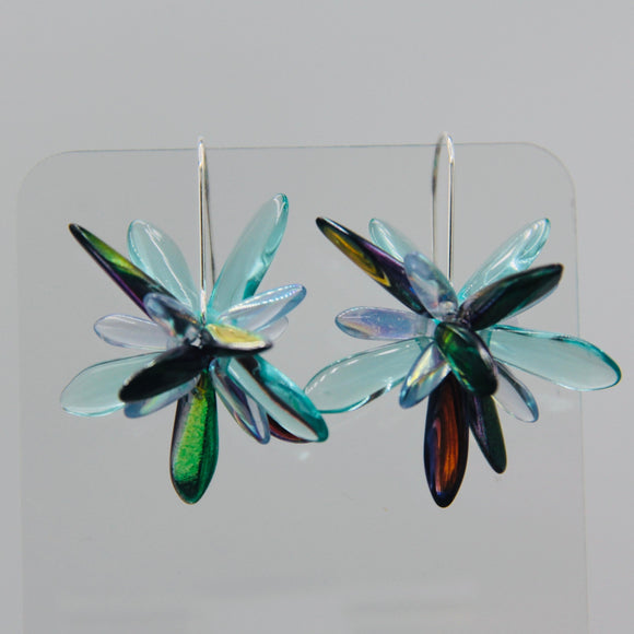 Eileen Earrings in Turquoise and Shiny Multicolor with Touch of Blue
