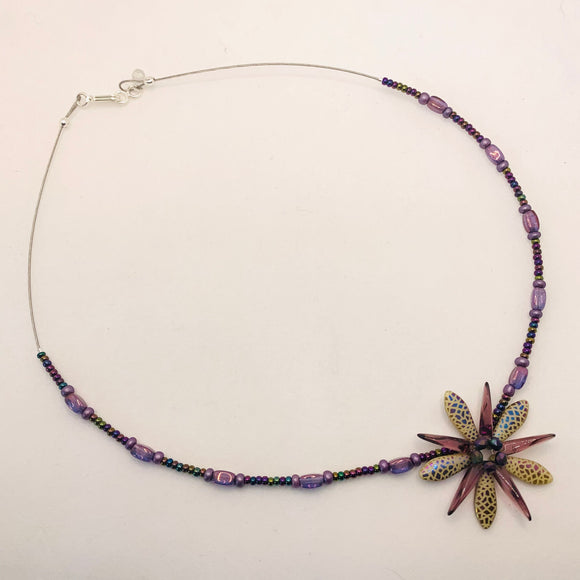 Elizabeth Beaded Necklace in Purple