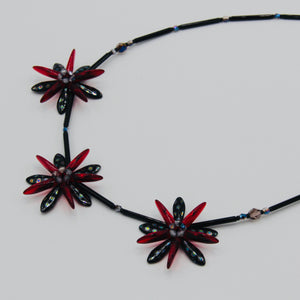 Anna Beaded Necklace in Black Metallic Dots with Red Accents