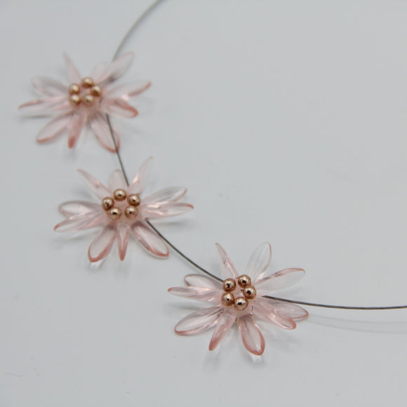 Anna Necklace in Soft Transparent Pink with Pearl Center