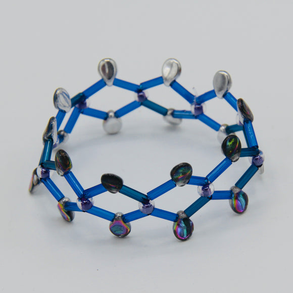 Jennifer Bracelet in Blue and Purple Metallic Silver