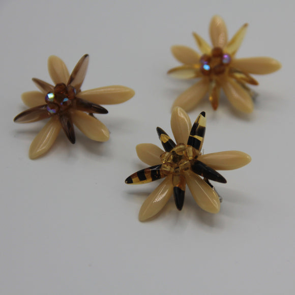 Shelalee Madeleine Pin Beige Brown Czech Glass Beads