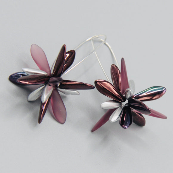 Eileen Earrings in Maroon Purple with Silver Accent