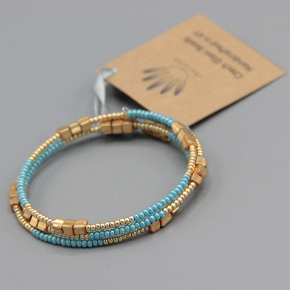 Whitney Bracelet in Turquoise Blue and Matte Gold