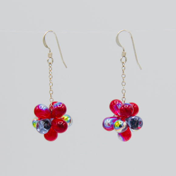 Erica Earrings in Red and Rainbow