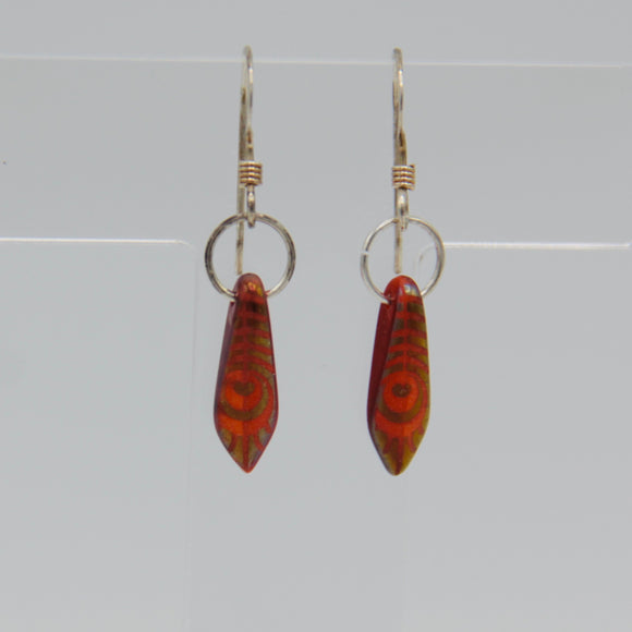 Jane Earrings in Red Laser-Etched Metallic Peacock Design