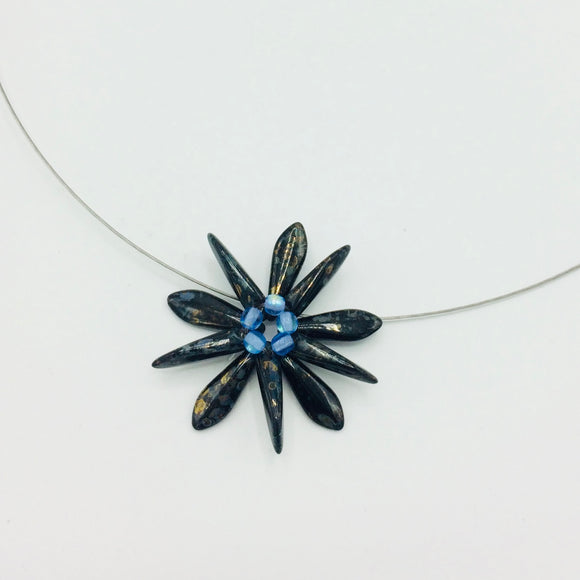 Elizabeth Necklace in Black with Gold Stone Effect with Blue Center