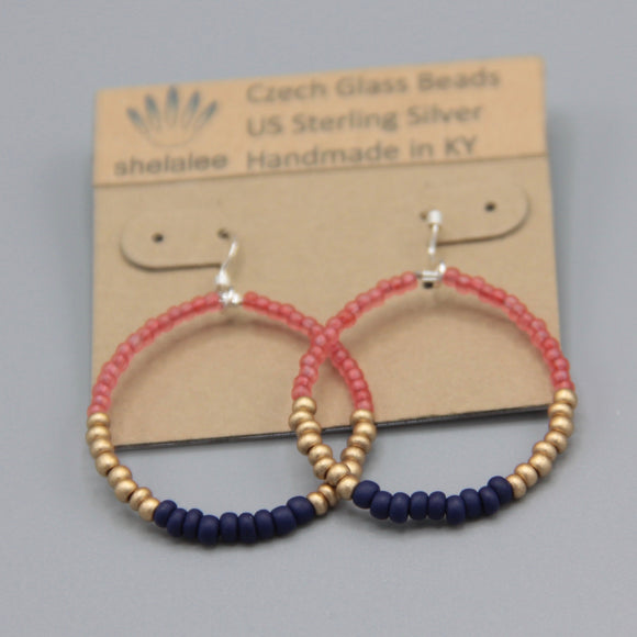 Hannah Earrings Petite in Matte Pink, Navy Blue and Gold