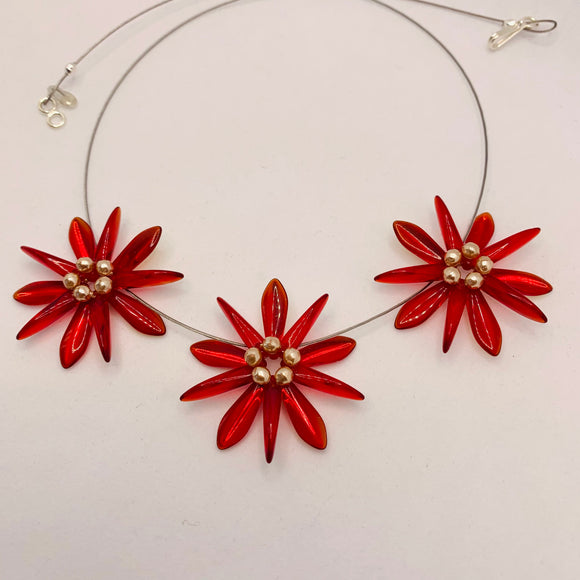 Anna Necklace in Red with Pearl Centers