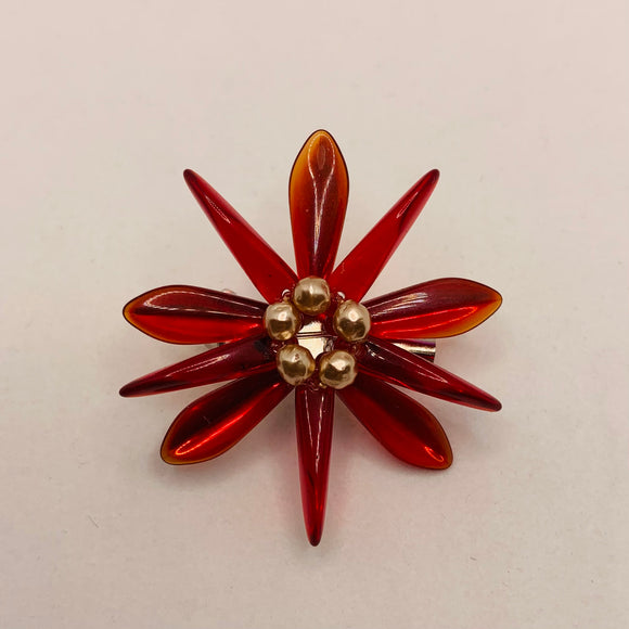 Madeleine Pin in Red with Pearl Center