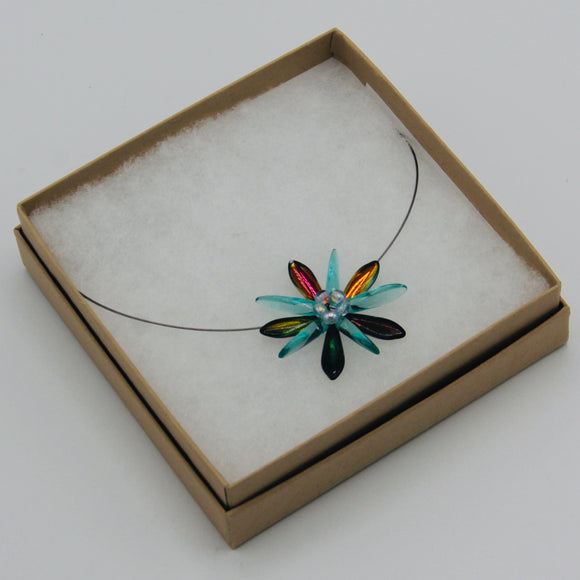 Elizabeth Necklace in Turquoise and Shiny Multicolor