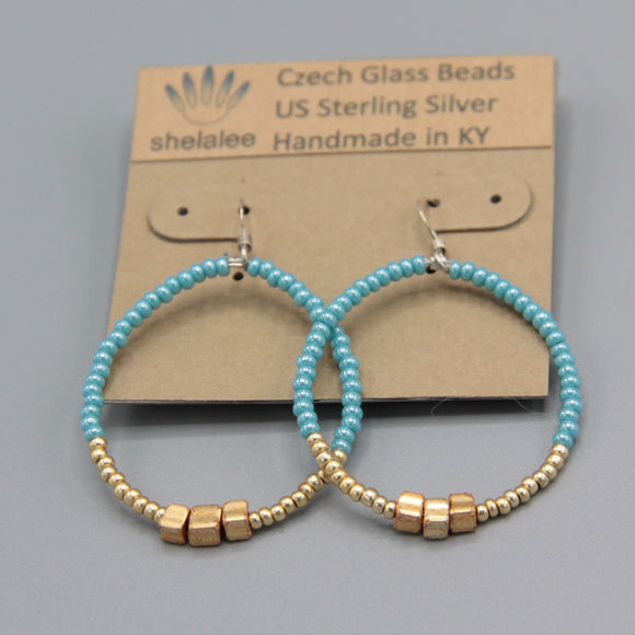 Hannah Earrings in Turquoise Blue and Gold