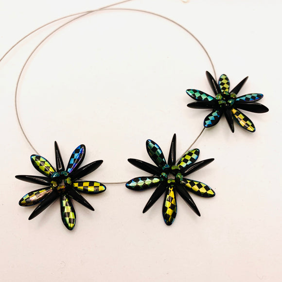 Anna Necklace in Black with Laser Etched Metallic Checkers