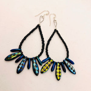 Amanda Earrings Beaded in Metallic Laser-Etched Checkered Black