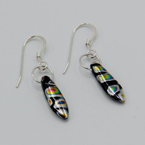 Jane Earrings in Black with Metallic Rainbow Streaks