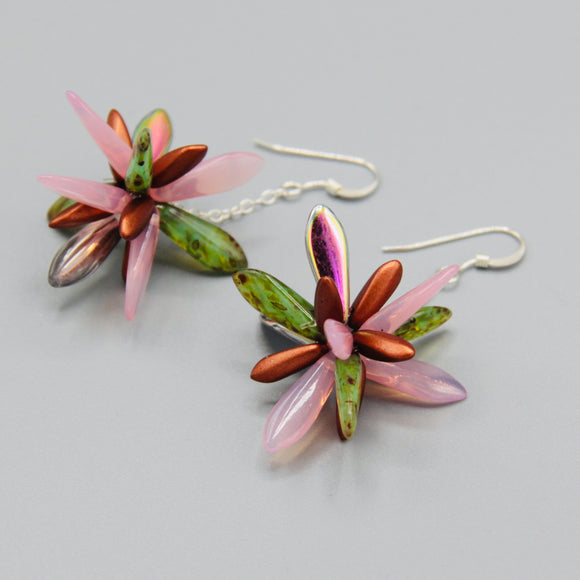Laura Earrings in Green and Pink with Copper Accents