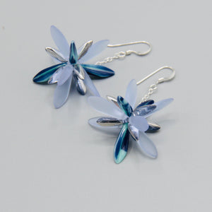 Laura Earrings in Matte Frosty Blue with Silver
