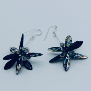 Shelalee Emma Earrings in Black Metallic Silver Czech Glass Beads Sterling Silver