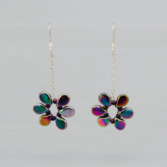 Daisy Earrings in Metallic Rainbow