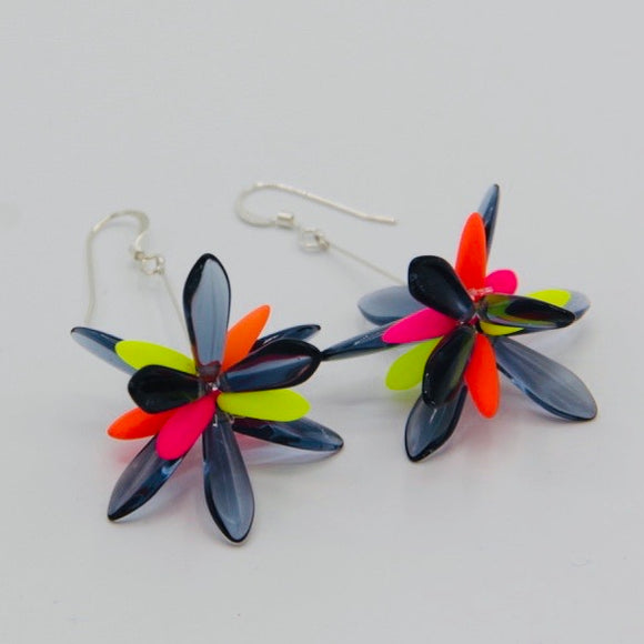 Shelalee Emma Earrings in Neon Pink Orange Yellow with Dark Blue Czech Glass Beads Sterling Silver