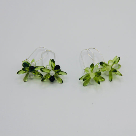 Shelalee Mia Earrings Forest Green Czech Glass Beads Sterling Silver