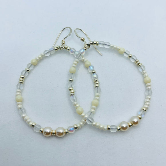 Hannah Boho Earrings in White and Pearl