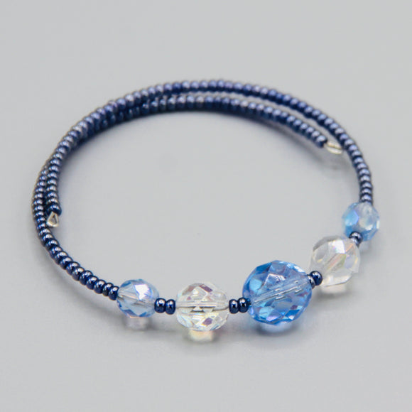 Whitney Bracelet in Blue with Larger Crystal Beads