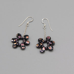 Daisy Earrings in Black with Metallic Dots