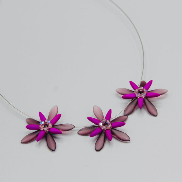 Anna Necklace in Neon Purple with Lilac Accents