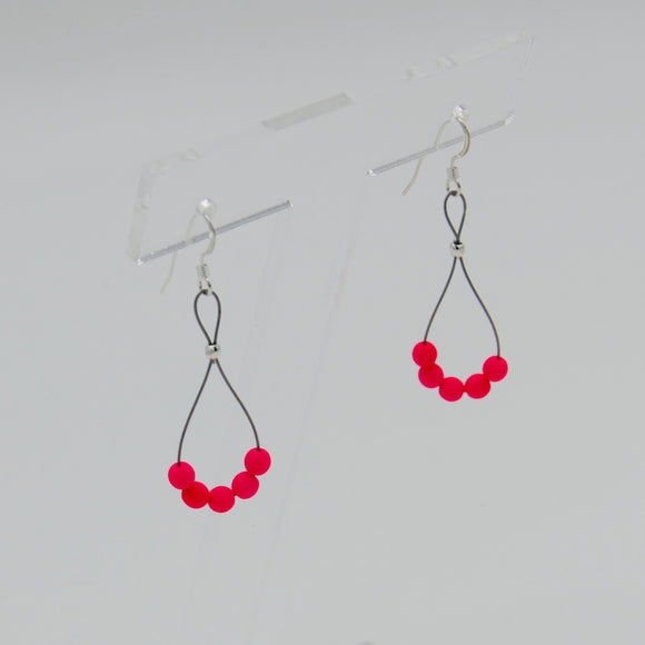 Shelalee Nicolette Earrings Neon Pink Czech Glass Beads Sterling Silver