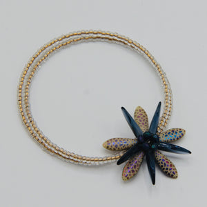 Zoe Beaded Bracelet in Cream Gold and Navy with a touch of Pink