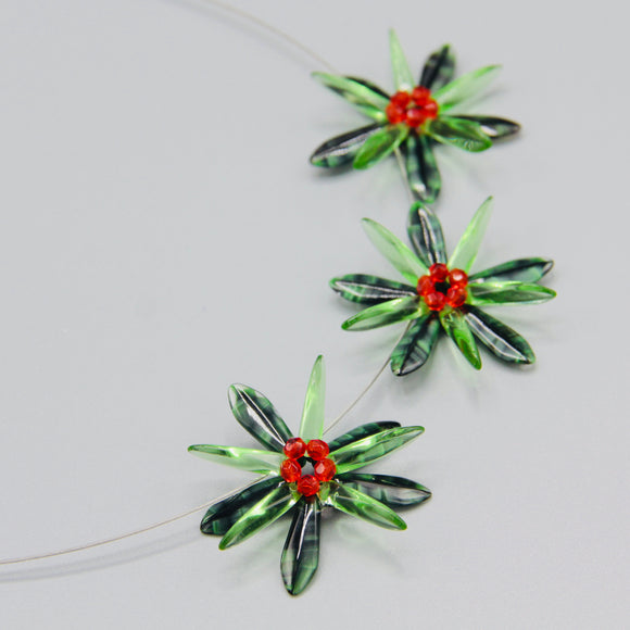 Anna Necklace in Mix Tropical Green With Deep Orange Center