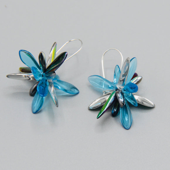 Eileen Earrings in Blue and Silver
