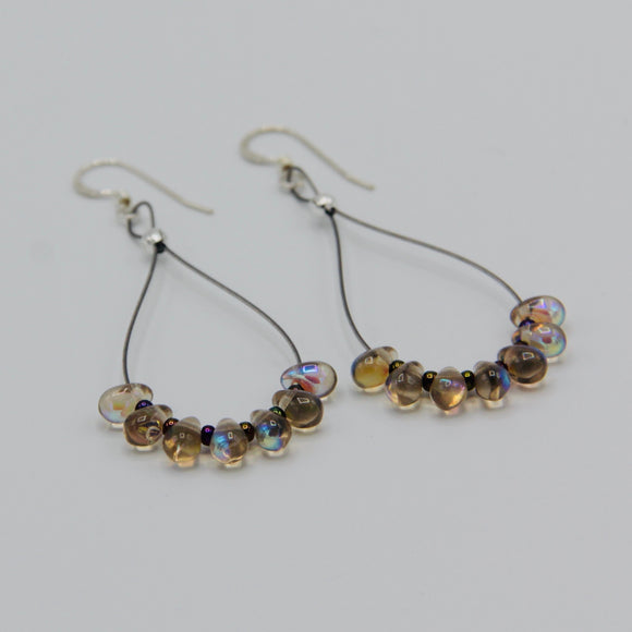 Nicolette Earrings in Shiny Transparent Beige Brown
