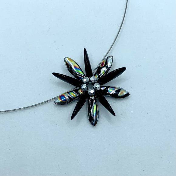 Elizabeth Necklace in Black and Metallic Silver