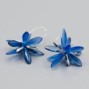 Eileen Earrings in Sapphire Blue with Laser Finish and Silver Accents