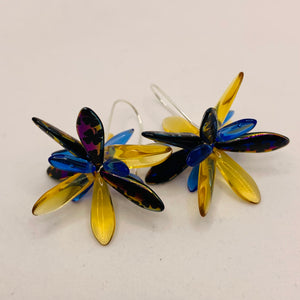 Eileen Earrings in Metallic Laser-Etched Black with Honey Yellow and Blue