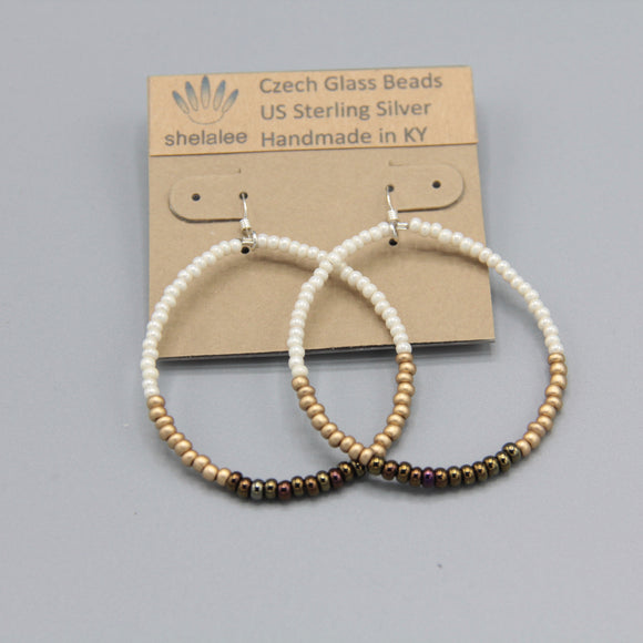Hannah Earrings in White, Gold and Bronze Brown