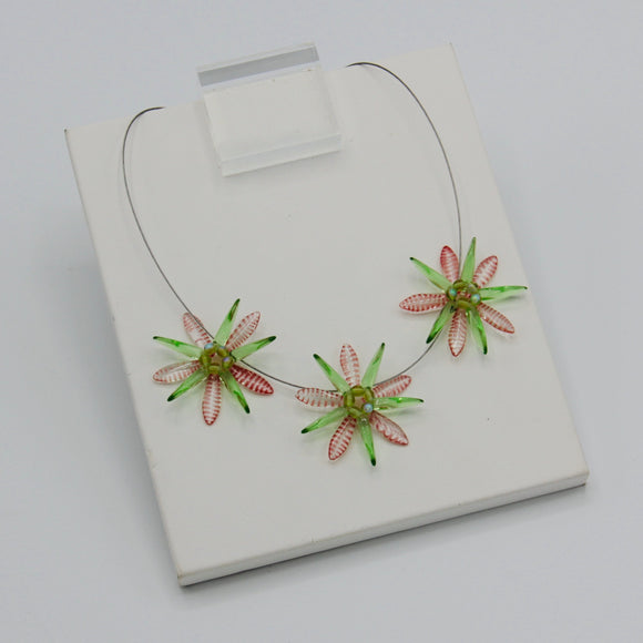 Anna Necklace in Spring Green With Red Stripes